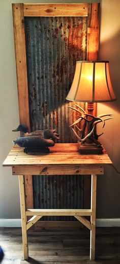 Entry table made from old barn tin and rough cut cedar wood #DIY