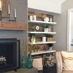 54 Rustic Farmhouse Fireplace Ideas For Your Living Room – Pinpon - Rustic Farm Home Living Room Remodel, My Living Room, Living Room Furniture, Living Room Decor, Small Living, Modern Living, Wooden Furniture, Antique Furniture, Furniture Movers