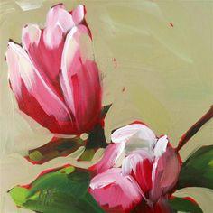 "Daily Paintworks - ""magnolia blossoms no. 2"" - Original Fine Art for Sale - © Angela Moulton"