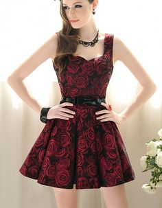 Vintage Inspired Brocade Burgundy Summer Roses Tea Dress.Floral Dress