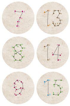 """Adventskalenderzahlen """"Punktzahlen"""" 40 mm von lina-art - originell und fröhlich darf es zugehen ... auf DaWanda.com"""
