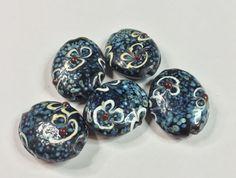 HANDPAINTED CERAMIC LAMPWORK Beads by CoseBelleByMaria on Etsy