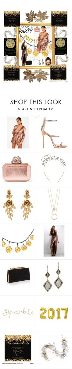 """""""Party at NYE"""" by cecemontgommery ❤ liked on Polyvore featuring Missguided, Giuseppe Zanotti, Jimmy Choo, Oscar de la Renta, Kate Spade, Rare London, Dana Kellin and National Tree Company"""