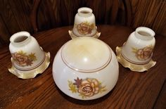 Set 4 Pc vtg Brown Ruffle Rose Glass Shade  Lamp Ceiling Fan Light Fixtures CHIC
