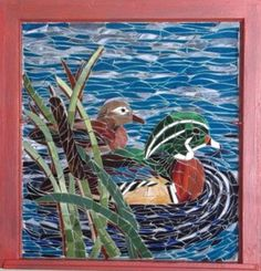 Wood Ducks Stained Glass Mosaic, about 20x28, by Booker Glass.
