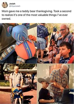 His mother gave him a teddy bear for thanksgiving. Happy Stories, Sweet Stories, Cute Stories, Faith In Humanity Restored, Wholesome Memes, Funny Relatable Memes, Humor, Funny Cute, Good People