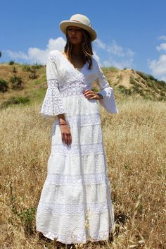 """Prairie Folk"" GORGEOUS Vintage Mexican Wedding Dress"