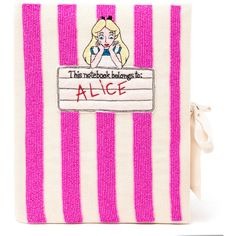 OLYMPIA LE-TAN Beaded Alice in Wonderland Notebook Clutch (€975) ❤ liked on Polyvore featuring bags, handbags, clutches, pink beaded purse, pink clutches, beaded handbag, beaded clutches and embroidered handbags