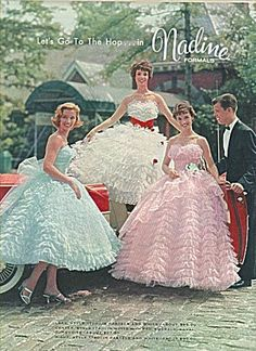Retro Fashion Nadine Formals - Want to be living in fifties fashion? Enjoy a look back at the era that still fascinates us all. Vintage Prom, Vintage Dresses, Vintage Outfits, Vintage Hats, Fifties Fashion, Retro Fashion, Vintage Fashion, Victorian Fashion, Cotillion Dresses