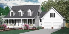 """House Plan 2109-B MAYFIELD """"B"""" - Colonial cottage, 1-1/2 story design with three bedrooms and 2-1/2 baths. Master downstairs. Full covered porches front and rear. Bonus Room over 2-Car Garage."""