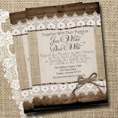 Burlap and Lace Wedding Invitation, Rustic, Wood fence, Twine, Printable, Digital File, Personalized, 5x7, on Etsy, $15.00