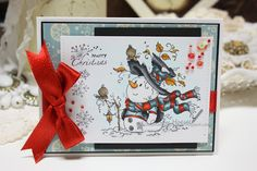 Made by Cindy Hoesel, Christmas card, Sylvia Zet Wee Stamps, Mr. Frosty, Copics, card