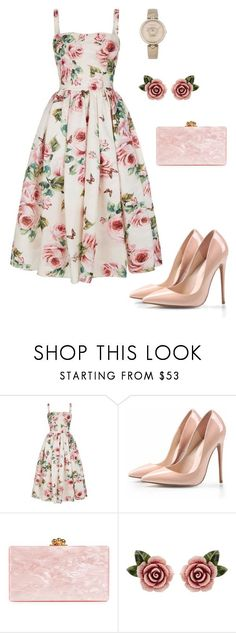 """Roses"" by giulia-ostara-re ❤ liked on Polyvore featuring Dolce&Gabbana, Edie Parker and Versace"