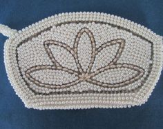 Vintage White And Silver Beaded Clutch/Purse With Beaded Pull