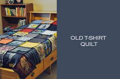 Simply Sara: rag quilt made from old t shirts Old Clothes, Clothes Crafts, Rag Quilt, Quilt Blocks, Sewing Crafts, Sewing Projects, Diy Crafts, Fun Projects, Crochet Projects