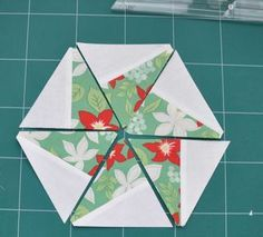 Hook - how to make this triangle block by piecing fabric & cutting equilateral triangle and sewing into hexies