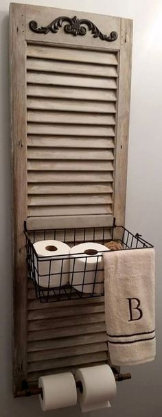 34 Ways Decorating with Old Shutters Can Make Your Home Charming Window Shutter Toilet Paper Holder Old Shutters, Repurposed Shutters, Farmhouse Shutters, Rustic Shutters, Small Shutters, Bedroom Shutters, Interior Shutters, Kitchen Shutters, Black Shutters