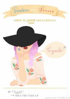 Apprendre* les jurons français à l'aide d'illustrations (*aux anglophones). Illustrations de Vaimiti Tragin
