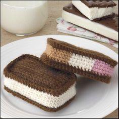 Yummi Gurumi Over 60 Gourmet Crochet Treats to Make - Pattern Ice Cream Sandwiches - Frozen Treats