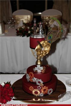 My steampunk wedding cake...green and ivory, less gears, different top?