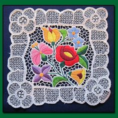 Square Vintage White Doily with Embroidered Flowers and Cutwork from Patty Ann