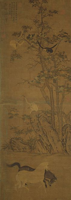 Han Gan(韓幹) , 南宋 佚名(传韩幹)猿马圖  台北故宫博物院藏