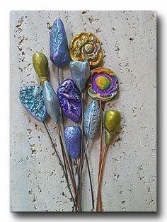 Kathy Richardson of Out of Time Designs made these polymer clay headpins using the Rustic Beads and Components Tutorial by The Blue Bottle Tree