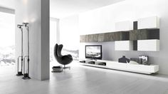 Modern TV Wall Unit Comp. 223 by Presotto, Italy from ModulART collection has lacquered base, filler back panels and wall units with lacquered and Silver Shine stone fronts. Manufactured By Presotto.