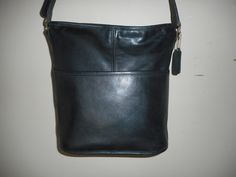 "Vintage COACH 11"" 11"" Black Leather Shoulder Bag USA 0900-928 by COACHCROSSING on Etsy"