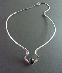 Onyx Sterling Silver Choker Necklace Sleek by RenaissanceFair