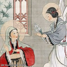 By Chinese Catholic artist Lu Hongnian, painted in spring of 1948 in Beijing.