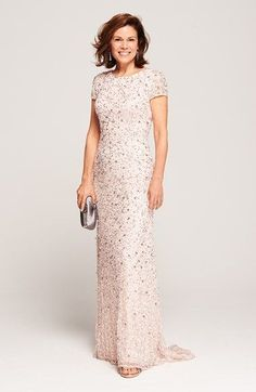 Pretty blush sequin Mother-of-the-Bride Dress, designer Adrianna Papell @ Nordstrom Mother Of The Bride Dresses Long, Mother Of Bride Outfits, Mothers Dresses, Mother Bride, Mob Dresses, Bridesmaid Dresses, Bridesmaids, Wedding Attire, Wedding Gowns