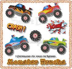 7 Stickdateien Monster Trucks 10x10 cm Stickmuster von Chic 'n Comfy auf DaWanda.com