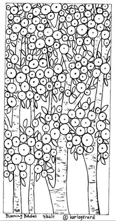 Blooming Birches rug hook paper pattern