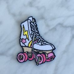 Roller Skate Patch  Iron On Embroidered by WildflowerandCompany