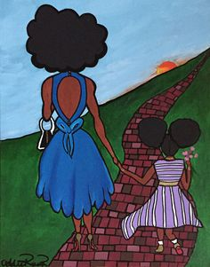 Original created 2015 as a commission piece Prints are high color on photo paper ready to frame Concept & Artist: Addie Rawr Mother Daughter Art, Art Prints For Home, Going Natural, Natural Hair, Black Mother, Black Artists, African American Art, Photo Canvas, Art Girl