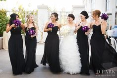 black and purple wedding  I really like these dresses
