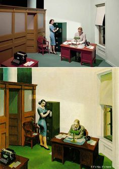 Conceptual artist Victor Burgin 's series Office At Night , inspired by the iconic Edward Hopper painting of the same name, explores the pol. American Realism, American Artists, American Life, Norman Rockwell, Shirley Visions Of Reality, Edouard Hopper, Edward Hopper Paintings, Art Sur Toile, Fresco