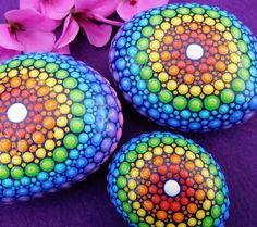 Rainbow Mandala Stone Dot painted Dotillism by StripeyCatsStudio