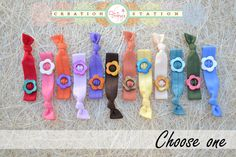 Hair ties with flower bead center  choose by vipcreationstation, $2.00