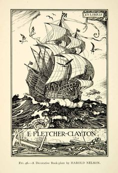 1927 Print Nautical Book Plate Harold Nelson Ship Sail Boat Wave Ocean Birds #vintage #ships