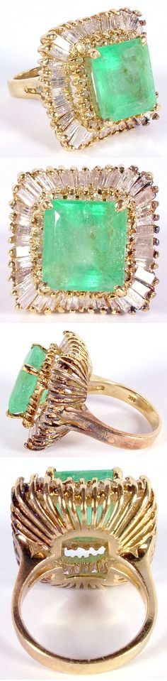 Big Emerald Diamond 14K Gold Cocktail Ring | Antique Helper