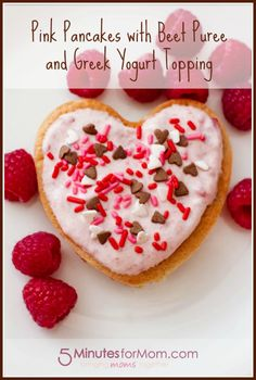 Pink pancakes with beet puree and greek yogurt topping. #Recipes #Valentines #Pancakes