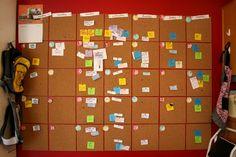 "DIY calendar made with 35 square cork boards (12x12""). Brilliant!"