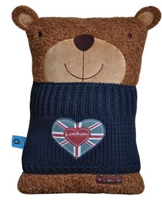 LONDON Bear Brown  Our newest addition to this smart family of travel toys just arrived! He is in fashion wearing a smart navy blue 100% cotton knitted jumper. The back body made of 100% Cotton Velour complete with a Gift packaging. He loves London and will be delighted to find a new mate to embrace together the next journey!