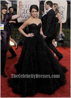 Lea Michele Black Formal Dress Golden Globes 2010 Red Carpet Gown