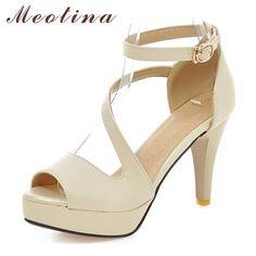 fe58ac4013dc8 Meotina Shoes Women Summer Shoes Gladiator Sandals High Heels Sandals Open  Toe Platform Ladies Shoes Beige