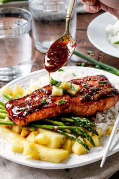 sweet and tangy Asian BBQ Salmon dripping with flavor but one of the easiest meals to throw together! Delicious enough for company, easy enough for everyday. Salmon Recipes, Seafood Recipes, Vegetarian Recipes, Cooking Recipes, Healthy Recipes, Yummy Recipes, Healthy Food, Side Recipes, Cooking