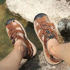 Amazon.com | Sandals Men Leather Beach Shoes Baotou Casual Large size Outdoor Casual Fisherman Strap Hiking | Shoes