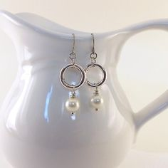 Earrings Silver With Cream Glass Pearls by CinLynnBoutique on Etsy, $18.00